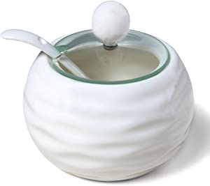 Sugar Bowl,Kitchenexus Vintage Ceramic Sugar Bowl with Lid and Spoon for Kitchen 8.8oz/250ml in White Weave Glass Lid