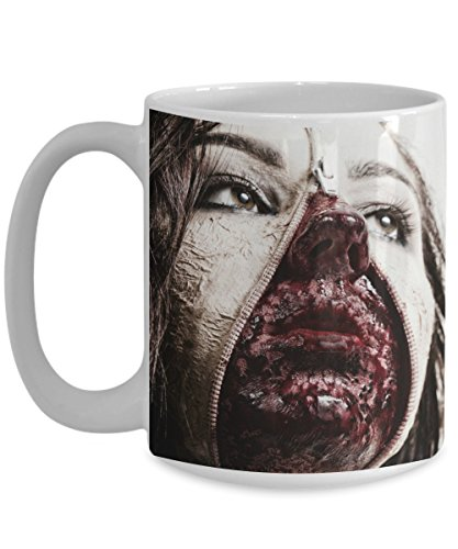 Best Two Person Halloween Costume Ideas (Halloween Coffee Mug - Gross Costume Mask Cup - Unique Gift For Hard Core Makeup People White Cup 11 or 15 oz)