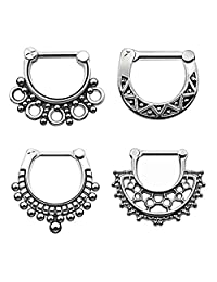 D&M Jewelry 4pcs 316L Stainless Steel Septum Clicker Mixed Mode Nose Ring 14G 16G