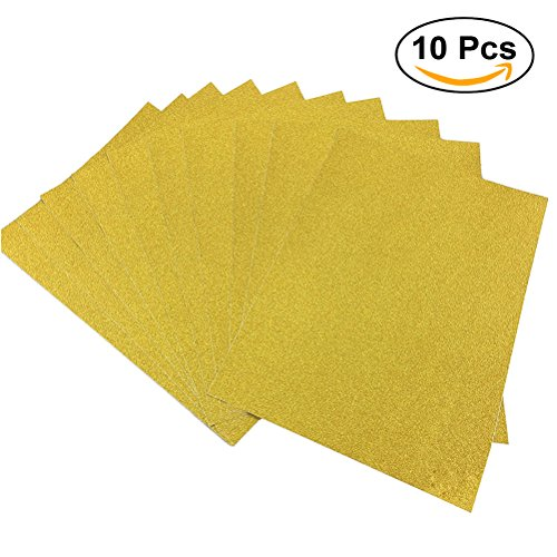 ULTNICE 10pcs Glitter Cardstock Paper Sparkle A4 Card for Diy Craftwork (Gold)