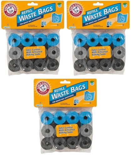 Arm & Hammer Waste Bag Refill Assorted Colors 540ct (3 x 180ct) by Arm & Hammer