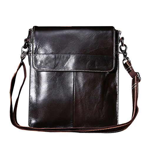 Zhhlaixing Bolsa de hombro Men's Office Cowhide Leather Crossbody Shoulder Bag Backpack Daypack Briefcase