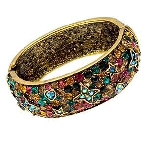 Acosta - estilo de la vendimia del brazalete de cristal Swarovski/pulsera - tono de oro antiguo
