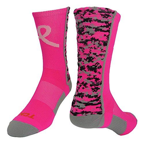 - TCK Digital Camo Aware Crew Socks, Neon Pink/Pale Pink, Small