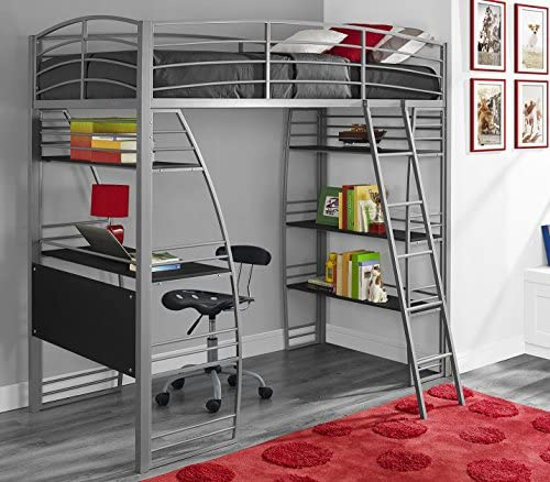 DHP Studio Loft Bunk Bed Over Desk and Bookcase with Metal Frame - Twin (Gray)