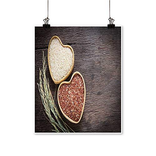 Home Decor organicrice Grain Brown Rice in Heart Shape Bamboo Basket Art Wall Art for Room,32