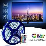Tira LED TV 2M, LETTURE 5050 Tiras de Luces 60LEDs USB Impermeable con Control Remoto, 16 RGB Colores y 4 Modos, Retroiluminacion LED de TV para Cine en Casa,Decoración del Partido Cocina, HDTV/PC Monitor