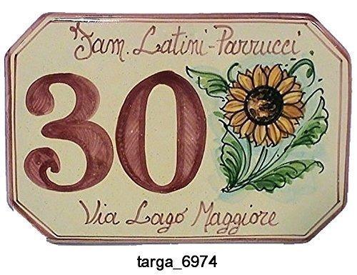 Numeri Civici In Ceramica.Numeri Civici E Targhe In Ceramica Girasole Laterale