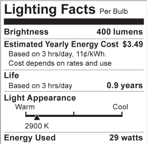 Satco S2405 29 Watt (40 Watt) 410 Lumens A19 Halogen Warm White 3000K Soft White Light Bulb, 2-Pack - - Amazon.com