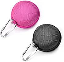 Case Star ® 2 PCS (Black and Hot Pink)Earphone Handsfree Headset HARD EVA Case - Clamshell/MESH Style with Zipper Enclosure, Inner Pocket, and Durable Exterior Plus Silver Climbing Carabiner With Case Star Cell Phone Bag (EVA Earphone Case-Black and Hot Pink)