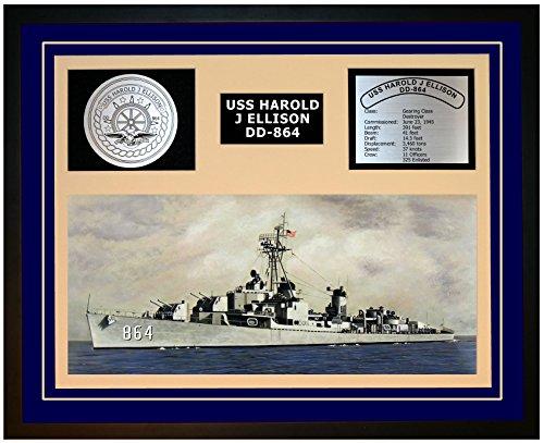 Navy Emporium USS Harold J Ellison DD 864 Framed Navy Ship Display Blue