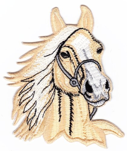 Beige Horse Head Riding Farm Sew-on Iron-on Patches Kids Children Baby Embroidered - Embroidered Applique Horse Iron