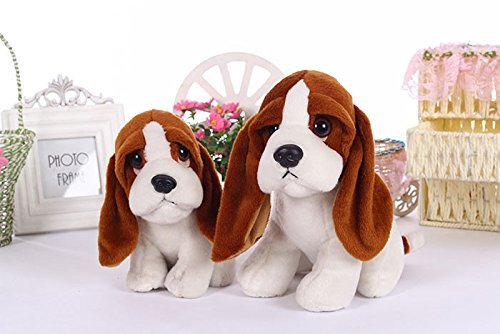 Stuffed toys squatting bassat hound dog kids toy plush animal