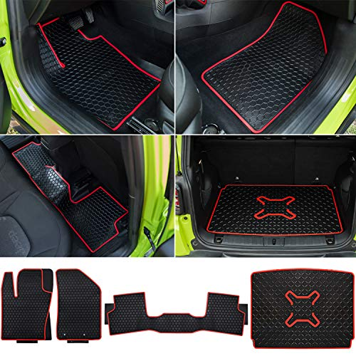 Bonbo Floor Mats & Cargo Liners Set for Jeep Renegade 2015-2019, Custom Fit, Front & Rear Seat Slush Mats, Environmentally Friendly Rubber, Heavy Duty, All Weather Guard, Odorless(Pack of 4)