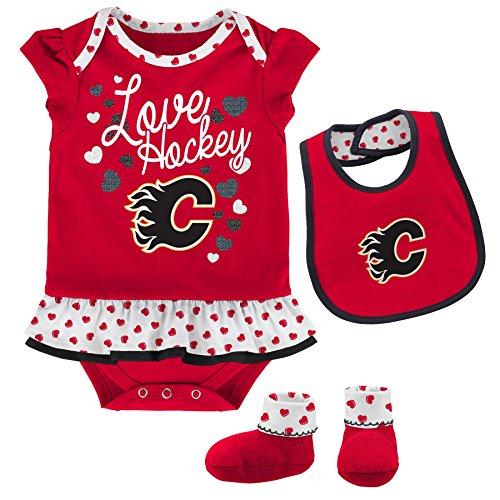 Outerstuff NHL Calgary Flames Children Girls Love Hockey Bib & Bootie Set, 12 Months, ()