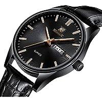 [Patrocinado] Nedifon - Reloj de pulsera para hombre, esfera negra, diseño sencillo, estilo informal, reloj de pulsera deportivo con fecha y calendario, reloj de cuarzo para hombre con correa