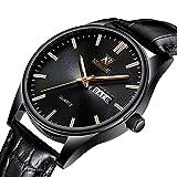NEDIFON Men Watches Black Dial Simple Design Dress Casual Watches Sport Wristwatch Date Calendar Quartz Watch for Man with Leather Band