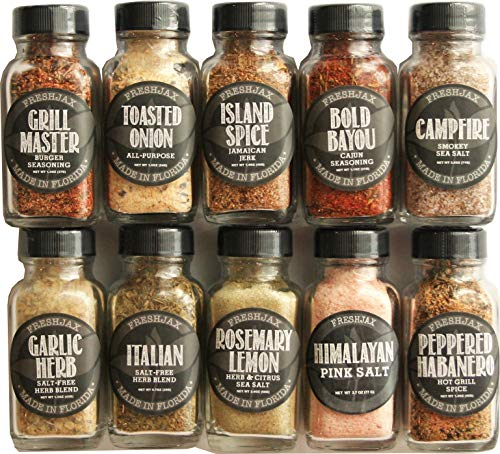FreshJax Gourmet Seasonings and Spices, Keto Grilling Variety Spice Gift Set (10 pack)