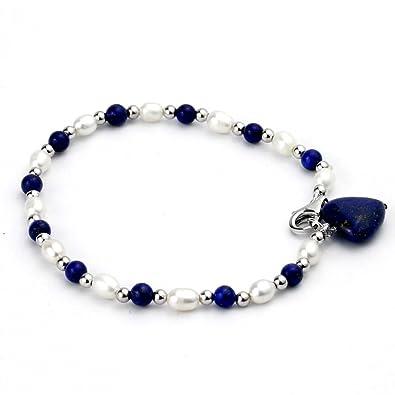 pas mal e1d12 d0f01 OJ A Lapis Lazuli, et argent sterling Bracelet de perles d ...