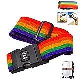 Mosunx Adjustable Suitcase Luggage Baggage Straps Combination Lock Belt Tie Down Travel (Multicolor)