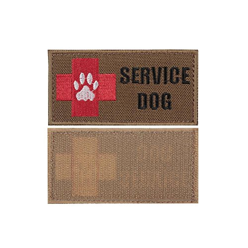 yisibo 2pieces-Service Dog Patch Embroidered Morale Hook and Loop Patch for Tactical K9 Harness Vest (Coyote Brown)