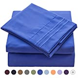 VEEYOO 1800 Thread Count Queen Sheets Set - Wrinkle, Fade Resistant Hypoallergenic Extra Soft Bedding Sets, Luxury Hotel Quality Deep Pocket Bed Sheet Sets, Imperial Blue
