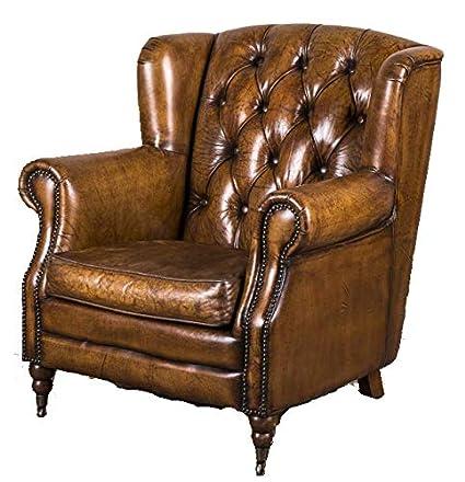 Vintage estilo Retro piel con tachuelas sillón la Berkeley ...