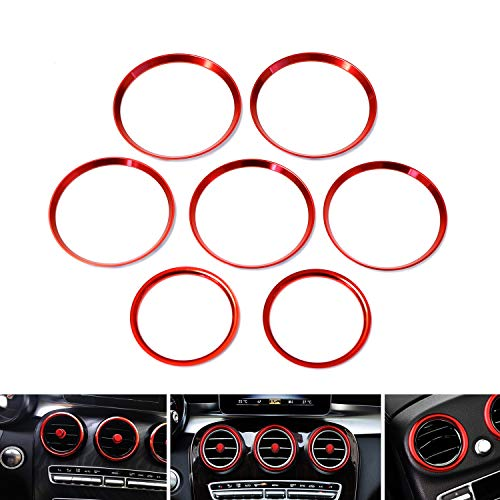 (iJDMTOY 7pc Sports Red Aluminum Air Conditioner Vent/Opening Outer Trim Decoration Covers For 2015-up Mercedes W205 C180 C250 C300 C350 C400 C63 AMG, 2016-up GLC Class, etc)
