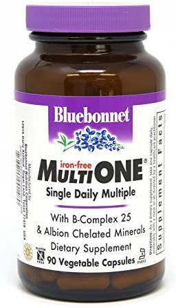 Bluebonnet Nutrition Multi One Iron Free Vegetable Capsules, Complete Full Spectrum Multiple, B Vitamins, General Health, Gluten Free, Milk Free, Kosher, 90 Vegetable Capsules, 3 Month Supply