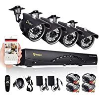 Anlapus 8-Channel AHD 720p Security Camera System DVR and 4 x 1.0 Mp 720p(1280TVL) Night Vision Indoor Outdoor Weatherproof CCTV Bullet Cameras with Motion Detection and Mental Housing