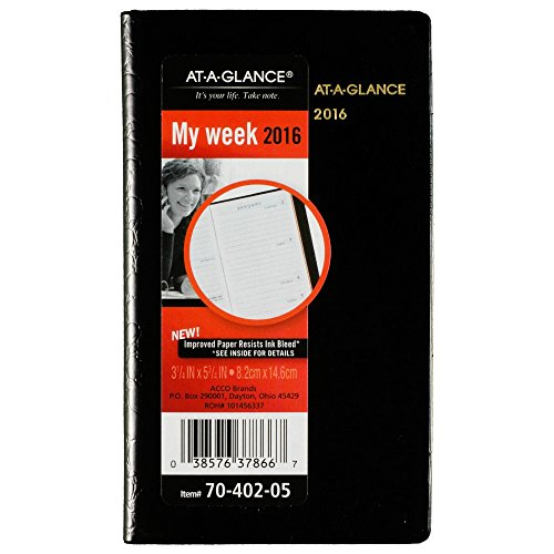 AT-A-GLANCE Weekly Planner 2016, Designer Cover, 3-1/4 x 5-3/4 Inches, Black (70-402-05)