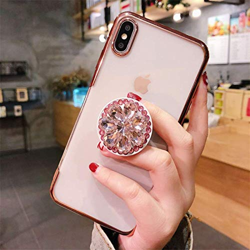 MayCase for iPhone Xs Max Airbag-Bracket Stand Holder Phone Case Luxury Diamond Crystal Glitter Star and Moon Starry Night Clear Soft TPU Case for Apple iPhone Xs Max -Pink