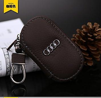 Lujo Audi mando a distancia de piel marrón para llavero Fob ...