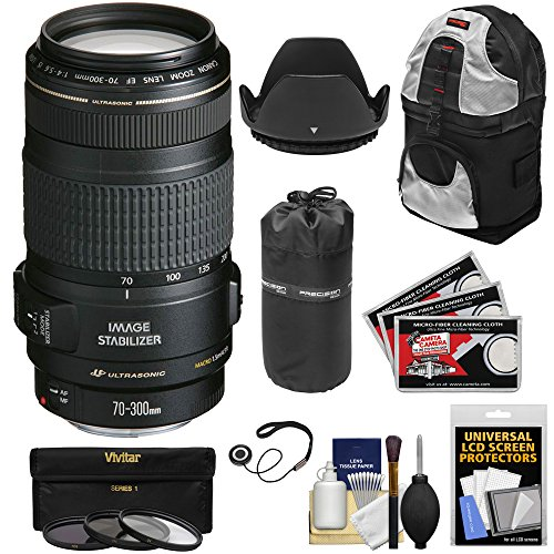 Canon EF 70-300mm f/4-5.6 IS USM Zoom Lens + 3 Filters + Hoo
