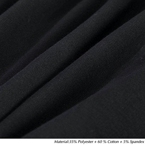 la de B366 Vestido Formal Rodilla Corta para Trabajar de Manga Elegante Noche HOMEYEE Vestido Delgada de Negro XfZ58