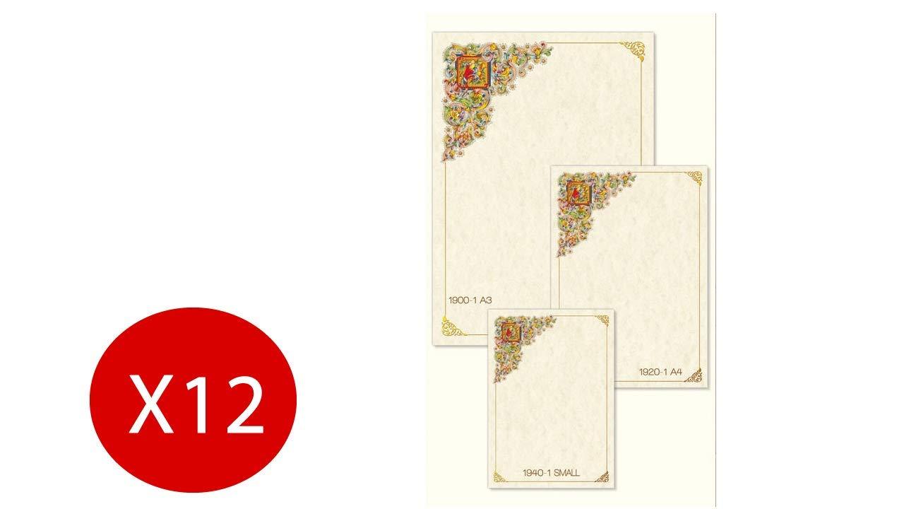 Carta Pergamena Fiorentino Decorata Avorio A3 297x420mm 160g//mq Confezione da 12 Fogli