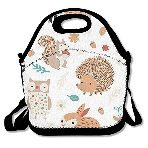 Critter Patch Organic Cotton Fabric By Designer Alyssa Thomas Penguin And Fish Cute Woodland Animals Owls Waifu2x Photo Scale Tta 1 Lunch Bags Lunch Tote Lunch Box Handbag For Kids And Adults