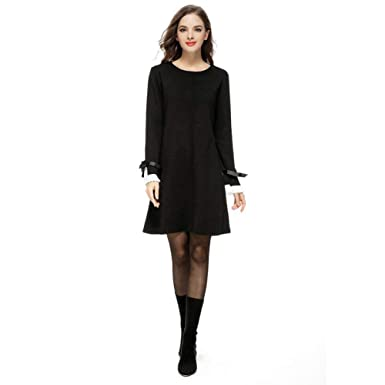 Paskyee Women\'s Plus Size Crewneck Bow Flare Sleeve Knitted Sweater Dress  Black 3X-Large