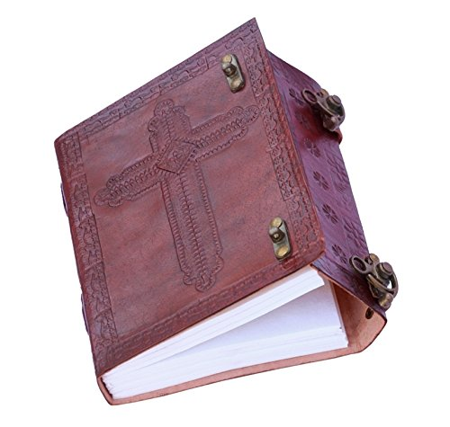 FABIYANO Embossed Holy Cross 6 Handmade Leather Journal 2 Lock Diary Thought Book Bound Notebook Christmas Gift Travel