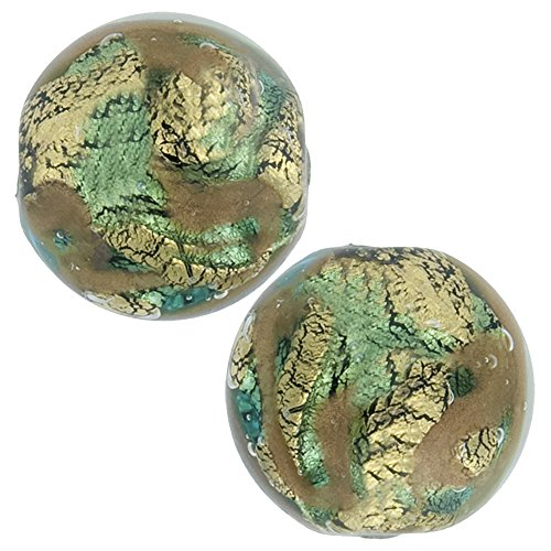 Aqua & Aventurina 24kt Gold Foil Sospire,12mm Round 2 Pieces, Murano Glass Bead ()