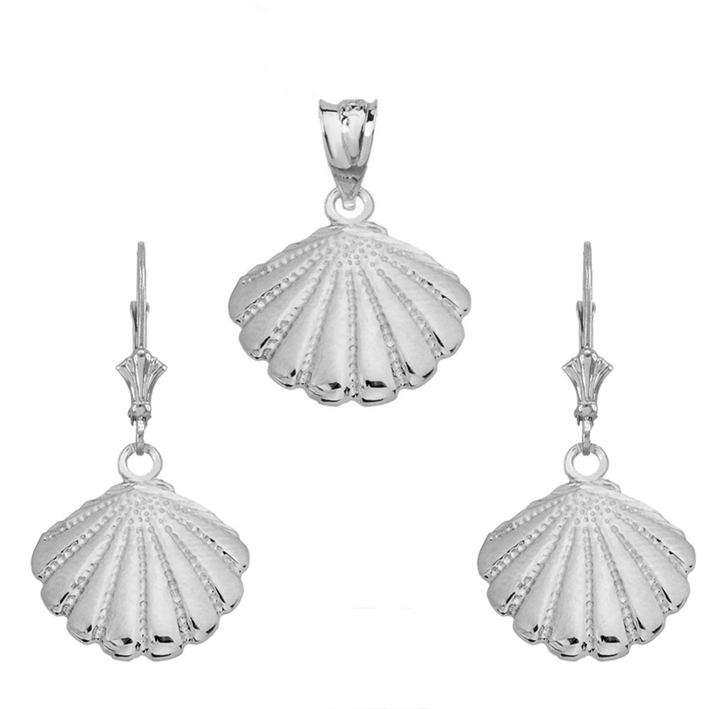 Fine Cockle Sea Shell Charm Pendant and Earrings Set in Sterling Silver