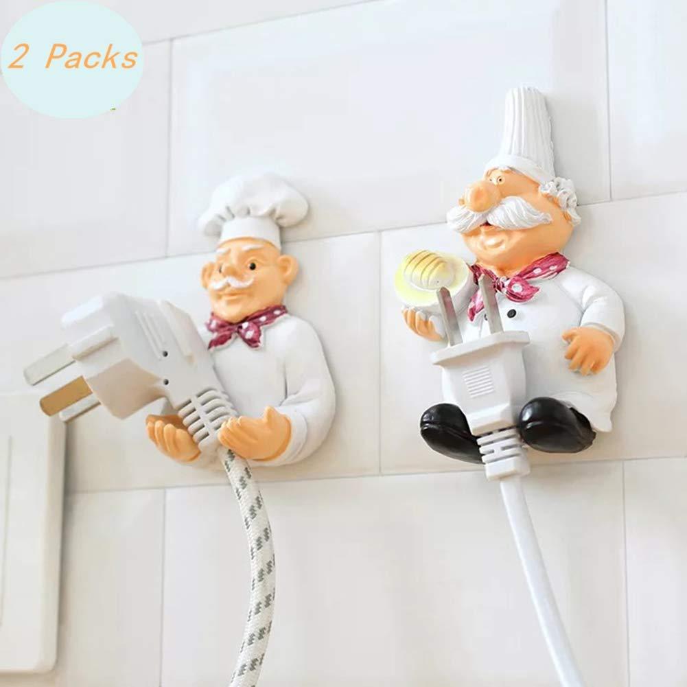 2 paquetes de soportes para enchufe con gancho para colgar en la pared para electrodomé sticos, enchufe de horno de microondas, juego de TV, lavadora Face Like