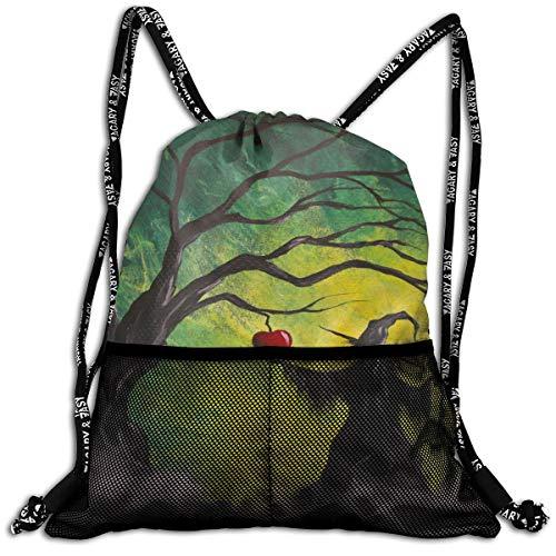 db1ed5834e17 Tree Apple Witch Unisex Large Sport Sack Drawstring Backpack Waterproof  Stadium Shoulder Bags Home Travel School Storage Rucksack