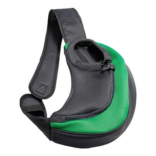BreTT1QIN9 Pet Puppy Dog Carrier Outdoor Travel Single Shoulder Bag Mesh Pouch Handbag - Green S