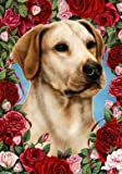 Yellow Labrador – Tamara Burnett Valentine Roses Large Flag For Sale