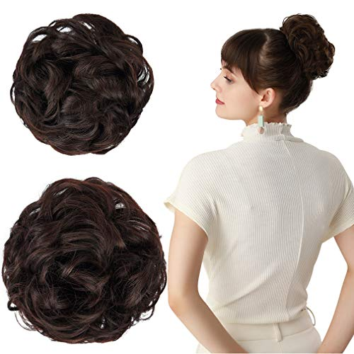REECHO Women's Thick 2PCS Hair Scrunchies Made of Hair Curly Wavy Updo Hair Bun Extensions Messy Hairpieces - Dark Brown