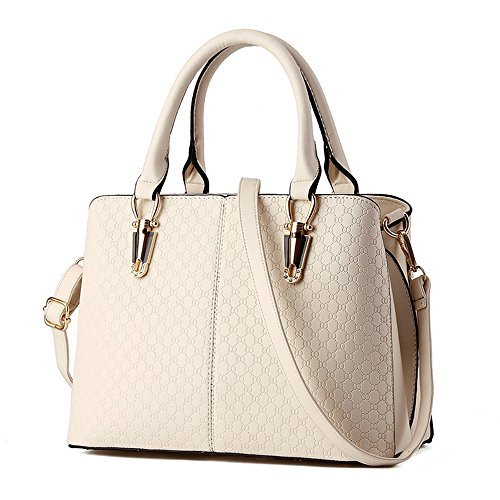 Goodpro Women Handbag Women Bag Shoulder Bag Zip Closure Tote Vintage Bag PU Leather GP119 White