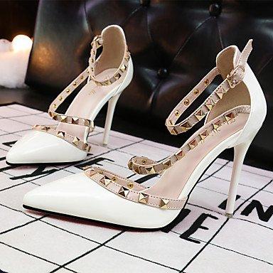 Casual Noche pu Y El tacones Stiletto Fiesta White tacón Tobillo En vestido Mujer tira Lvyuan Desnudo blanco ggx nqvYf77O