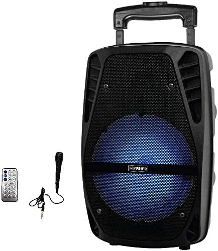 Fisher FBX818 8-Inch Portable Speaker System with Wired Mic, Trolley Handle, Wheels,USB, and Auxiliary Inputs