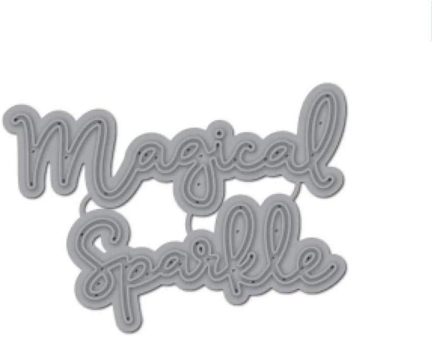 Metal Cut-dies Magic Spaikle Art Words Metal Stencil Cutting Dies for Scrapbooking Embossing Die-cuts Paper Card Making Album Photo Decoration Crafts Card Making Supplies Christmas Greet Card Crafts G